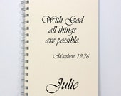 Inspirational Large Prayer Journal Diary Notebook - With God All Things Are Possible - Large Journal 8.5 x 5.5 Inches - Ivory