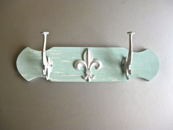Beach Hooks, Fleur De Lis, Aqua, Towel Hooks, French Country, Paris Apartment, Shabby Chic Decor, Rustic, Farmhouse, Coat Hooks