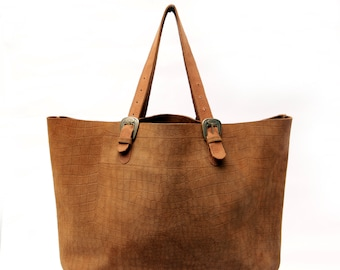 Brown leather tote, Everyday leather bag, Brown suede tote, Big tote bag, Camel leather tote,  Oversized tote bag, Womens everyday bag