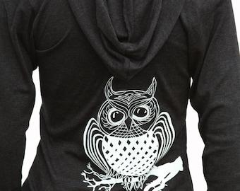 Owl Bird | Soft lightweight full-zip hoodie | Year around jacket