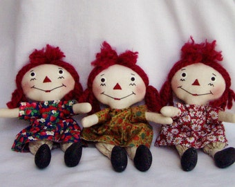 Primitive Raggedy Doll Tiny Collector by Happy Valley Primitives choose dress color