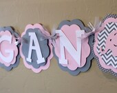 Elephant Light Baby Pink Gray Chevron Stripe Polka Dot NAME or IT'S A GIRL Banner Girl Baby Shower Party Decorations Wedding Love Valentine