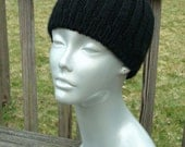 SALE Handknit Acrylic Black Ribbed Hat, Unisex