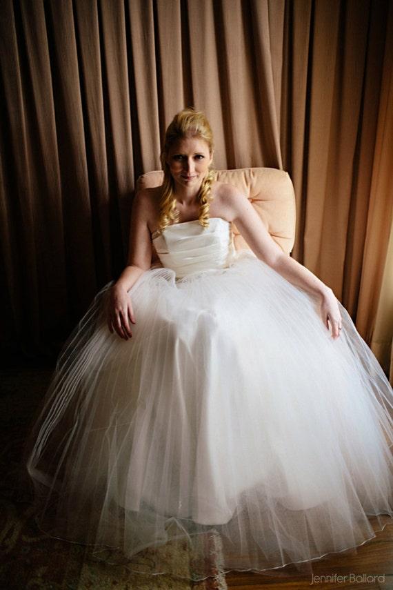 pleated tulle skirt wedding dress by bridalblissdesigns on