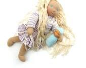 pocket Waldorf doll  5 inch - 12 cm, baby blue veluor