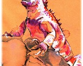 Galapagos Marine Iguana Watercolor Painting Print, Artist-Signed