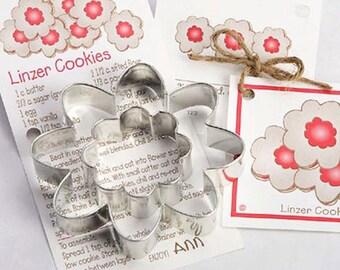 Cookie Cutter, 2 Piece Flower Cookie Cutter Set, Linzer Flower Cutter, Baby Shower Cookies, Party Sandwich Cutter, Cookies Cake Decorations