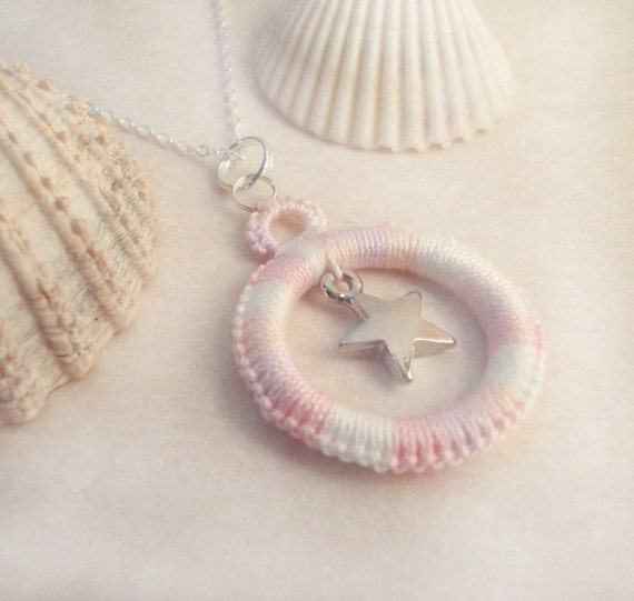 Pink Lace Pendant in Tatting - Alys with star charm