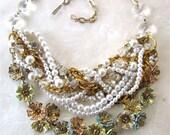 Chunky Bib Necklace Pastel Enamel Flower Pearl & Rhinestone Vintage Wedding Statement Necklace