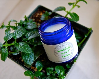 Mind/Body Relief Balm - an organic, soothing massage balm for tense muscles and for headaches (1.7 oz cobalt blue glass jar)