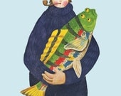Printed to order - Fine art print -- Lucky Fisherman