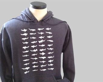 Sharks Hoodie Sweatshirt Gray