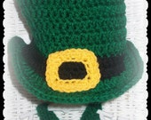 Baby Leprechan Hat and Bow Tie in Crochet, St. Patrick's Day Photo prop, Green top Hat and Bow Tie