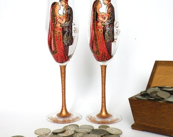 SALE PRICE Hand painted Wedding Toasting Flutes Set of 2 Personalized Champagne glasses Indian wedding