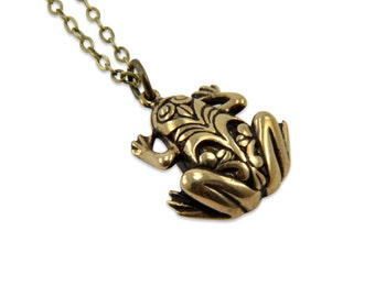 Tribal Frog Necklace - Bronze