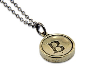 Letter Initial B White Bronze Typewriter Key Pendant Necklace Charm  - Other Letters Available