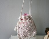 Vintage 1920s White & Pink Crocheted Purse