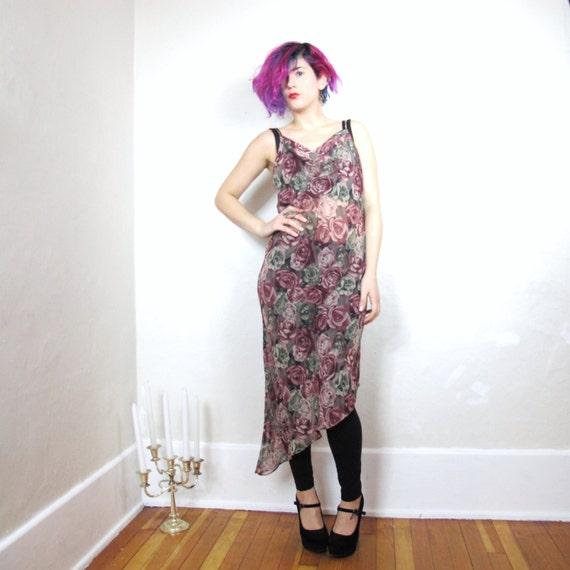 S A L E Rose Print Sheer Asymmetrical Flirty Lingerie Dress (S/M)