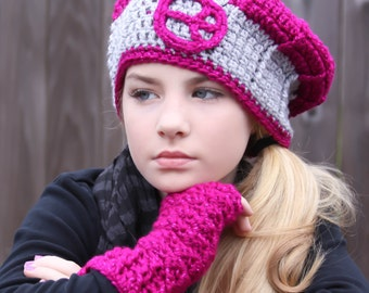 Pink and Gray Hat / Texting Mitts Combo - Hat w/ Peace Sign & Matching Fingerless Gloves - Gifts for Tween Girls Cute Crochet Slouchy Hat
