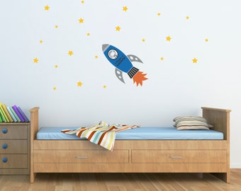 Personalized Wall Decal - Rocket with Boys Name Vinyl Wall Art - Children Wall Decals