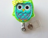 Blue and Green Owl with Bow - Retractable ID Felt Badge Holder - Name Badge Holder - Cute Badge Reel