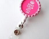 Keep Calm and Fill On Pink Crown  - Name Badge Holder - PT Badge Reel  - Pharmacy Tech Badge Holder - Pharmacist Badge Holder