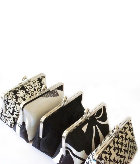 Black and White Handmade Wedding Clutches for Bridesmaids Gift Personalized Bags Customize Your Lolis Creations Clutch Purse