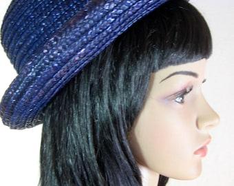 "1970's PURPLE STRAW HAT Size medium 22-23"""