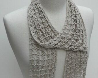 Cotton Scarf- Hand Knit- Beige/ Wheat