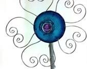 Garden Art  Recycled glass and Wire Garden Flower garden art Medium blue and purple