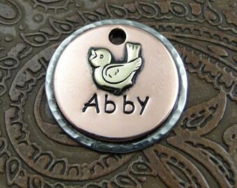 Custom Dog or Cat ID Tag, Personalized Birdy Collar Tag - Pet ID Tag