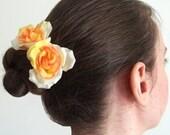 Yellow-Orange Rose Bobby Pins - Set of 2