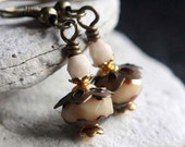 Ivory Czech Glass Bead Earrings - A.1563