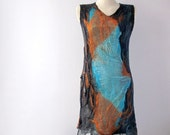 Nuno felted  dress grey blue orange  tunic clothing  seamless - galafilc