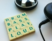 Custom Coaster, Upcycled Scrabble Tiles, Geeky Music Quotes, Cork Backing, Desk Accessories