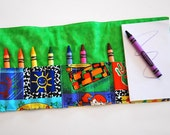 Crayon Roll Up - Crayon Holder - Kids Organizer with Pad & Crayons - Back to School, Green - KatelyB