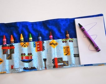 Crayon Roll Up - Crayon Holder - Kids Organizer with Pad & Crayons - At the Station