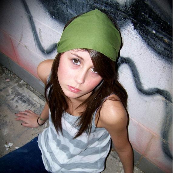 Green Head Scarf Headband Workout Headband Headscarf Head Wrap for Women Hair Bandana Running Headband Hair Scarf Green (#4603) S M L X
