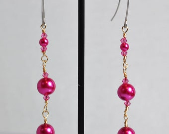 Hot pink pearl and pink crystal wire wrapped dangle earrings