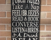 """Porch Rules Sign,Primitive wood Sign,Porch Decor,Home Decor,Typography Sign,DAWNSPAINTING,Black,Rustic,Country Sign, 12"""" x 24"""""""