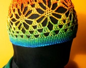 Crochet Hat - Rainbow Lace Crochet Beanie