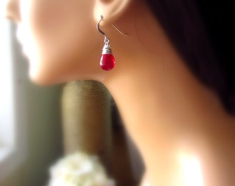 Bright Poppy Red Glass Earrings, Czech Glass Teardrop Dangle Earrings, Sterling Silver, Venetian Red Bridesmaid Jewelry