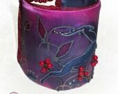 Haind painted silk beaded bracelet  cuff -Flower
