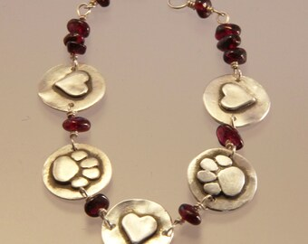 Dog Paws and Hearts with Garnets Bracelet - Dog Paw Bracelet - Dog Paw Jewelry - Dog Jewelry - Dog Lovers Jewelry - Paw Jewelry - Hearts
