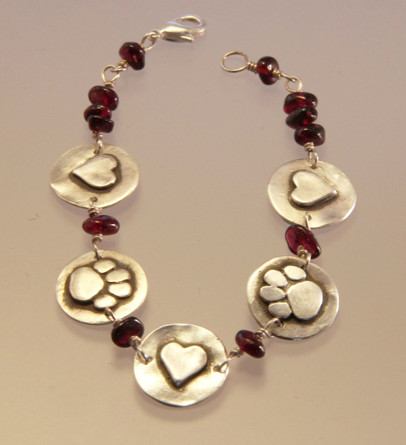 Bracelet With Hearts: Dog Paws And Hearts With Garnets Bracelet Dog Paw Bracelet