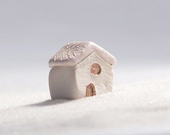 little white house - ceramic cottage with pink roof, lil village no31