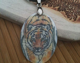 Tiger Totem Animal Mother of Pearl Amulet by Mickie Mueller