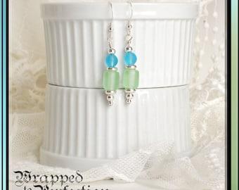 Aqua, Green & Silver Earrings / Summer Jewelry / Dangle / Frosted Glass / Ocean Beach Resort