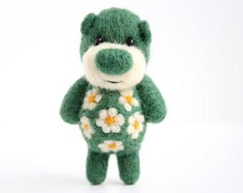 SUMMER SALE! -40% !!  Moss green felted miniature pocket bear with flowers