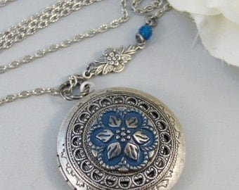 Blue Aster,Locket,Necklace,Silver,Silver Locket,Blue,Flower,Aqua,Aster,Pendant. jewelery by Valleygirldesigns.